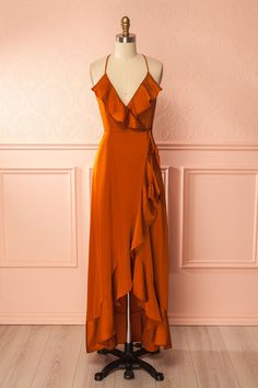 Akane Pumpkin / This long satiny wrap-dress will make you want to dance the nice away! Its wrap-style attaches with the help of four strings, two on the inside and two outside. Its open back adds a flirtatious element and makes it perfect for hot summer nights!  #Boutique1861