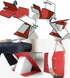 Foldable seat, but also could make into sloped writing surface!