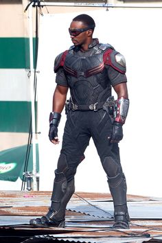 Anthony Mackie as Falcon on the set of Captain America: Civil War