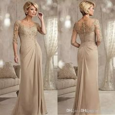 Champagne Mother Of The Groom Dresses Long 2017 Scoop Neck Chiffon Wedding Guest Dress Half Sleeves A Line Formal Evening Gowns Mothers Dresses For Sons Wedding Mothers Dresses For Wedding Plus Size From Hongjing_company, $108.55  Dhgate.Com