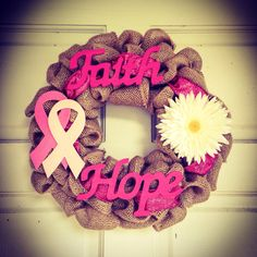 Breast cancer awareness month wreath by TheWreathGirl on Etsy