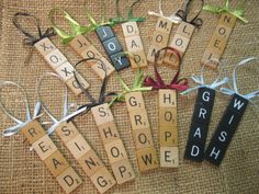 Scrabble Tile Christmas Ornaments ($3.00, via Etsy)...but could try this as DIY craft