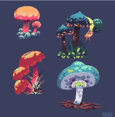 Looks like it would fit a sort of fantasy theme Mushroom Art, Character Art, Game Art, Art Background, Casual Art, Art, Pixel Art Design, Environmental Art, Cool Pixel Art