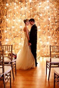 Light bulb backdrop for wedding ceremony