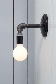 Industrial Black Pipe Wall Sconce Light - Bare Bulb Lamp | Industrial Light Electric hand crafted lighting, made to order, Industrial Modern Lighting, Vintage Industrial Style Lights with a Modern Design