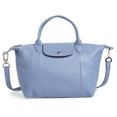 Women's Longchamp 'Le Pliage Cuir' Leather Handbag ($495) ❤ liked on Polyvore featuring bags, handbags, blue mist, blue purse, leather tote bags, leather hand bags, tote purses and leather handbags