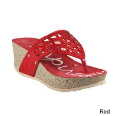 Refresh ELVA-03 Women Cork Wedge Platform Comfort T Strap Flip Flop Thong Sandal, Color:RED, Size:8.5
