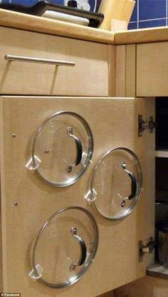 You'd be potty not to try: For simple storage of pot and pan lids, use plastics hooks to store them on the inside of cupboard doors