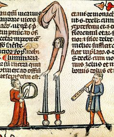Performers--man with pipe/tabor, another with pipes, woman balancing on sword points. France 13-14th cent. Brit Lib. | Flickr - Photo Sharing!