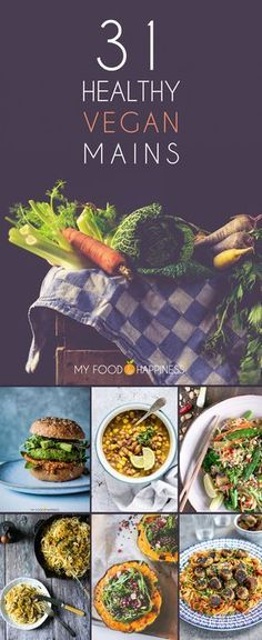 VEGAN/VEGETARIAN - You won't miss meat or dairy with these 31 healthy vegan mains! A collection of wholesome, plant-based recipes for every day of Veganuary! Plant Based Recipes, Veggie Recipes, Whole Food Recipes, Vegetarian Recipes, Healthy Recipes, Chicken Recipes, Dinner Recipes, Fast Recipes, Baked Chicken