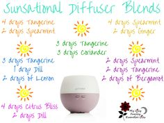 Essential oil diffuser blends using tangerine, cumin, dill, and spearmint