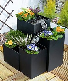 Purchase the famous Daintree Planter Cascade Water Feature - Black by Primrose online today. This sought after product is currently in stock - buy securely on Garden Figments 'The Online Garden Design Shop' today. Small Fountains, Garden Fountains, Water Fountains, Indoor Water Garden, Water Gardens, Tabletop Fountain, Fountain Ideas, Fountain Lights, Gardens
