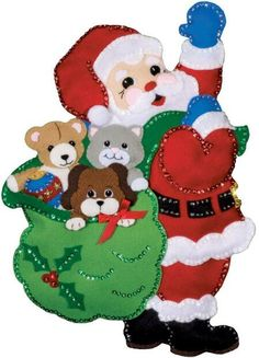 Design Works Santa and Friends Wall Hanging - Felt Applique Kit. Felt applique Christmas wall hanging from Design Works featuring Santa with a cat, dog, and ted Felt Christmas, Christmas Stockings, Christmas Crafts, Christmas Decorations, Christmas Ornaments, Holiday Decor, Xmas, Felt Wall Hanging, Wall Hanging Crafts