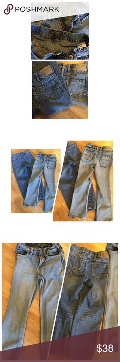 Boys Silver jeans. Lot of 2. Size 7 boys/youth 2 pair of boys size 7 silver jeans. 1 pair of Garret and 1 pair of Zane. No rips, tears or stains. One pair will need the zipper re-attached, please look at the picture. These will be a slimmer fit jean. If you purchase these, please remember one pair has a zipper that has slipped out of place. Follow me, I have a ton of boys size 7/8 clothes I will be listing within the next few days. Smoke free, pet free home. Silver Jeans Bottoms Jeans