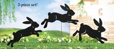 Silhouette Bunny Garden Lawn Stakes - Set of 3