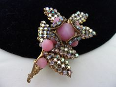 Miriam Haskell Brooch Flower Pin Pink Glass by AnnesGlitterBug