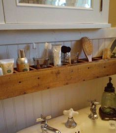 Good idea. Same small space as a small ledge shelf, but things won't topple off of it.  Pallet Wood Bathroom Storage,