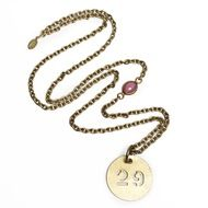 29 Forever...  Brass vintage number tag on a raw brass chain.