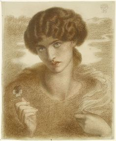 Water Willow - Study of Female Head and Shoulders by Dante Gabriel Rossetti