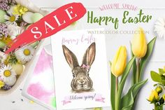 Watercolor Easter Bunny Illustration ~ Illustrations ~ Creative Market