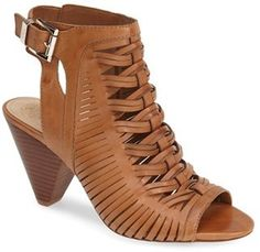 Vince Camuto 'Emore' Leather Sandal (Women) - Huarache-inspired texture defines an open-back peep-toe sandal set on a woodgrain cone heel.