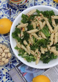 Week of June 3: Lemony Kale, Pasta & Pistachio Salad.  Serving with carrot sticks & fresh cherries on the side.