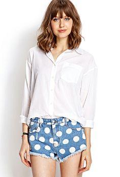 Everyday Collared Shirt | FOREVER21 - 2000127579 //  polka dot shorts