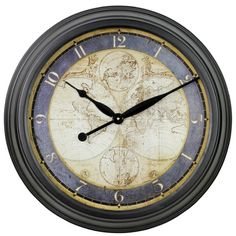 """Found it at Wayfair - 23"""" Ethan Old Map Wall Clock"""