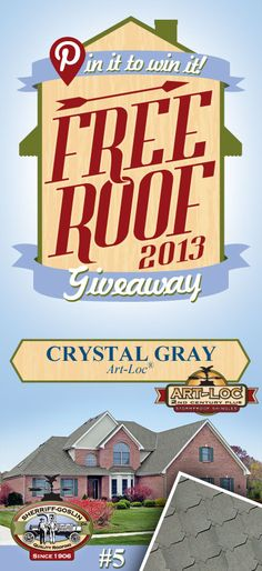 Re-pin this gorgeous Art-Loc Crystal Gray Shingle for your chance to win in the Sherriff-Goslin Pin It To Win It FREE ROOF Giveaway. Available in Sherriff-Goslin service area only. Re-pin weekly for more chances to win! | Stay Updated! Click the following link to receive contest updates. http://www.sherriffgoslin.com/repin Learn More about this shingle here: http://www.sherriffgoslin.com/tabbed.php?section_url=140