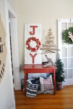 Joy sign, wood twig tree, Red christmas table -Antique red by Behr Decoration Christmas, Rustic Christmas, All Things Christmas, Winter Christmas, Christmas Home, Christmas Vignette, Christmas Gifts, Holiday Decorations, Simple Christmas