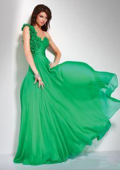 Flower Trimmed One Shoulder Green Evening Dresses