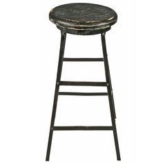 Tall Angle Iron Stool With Wood Seat