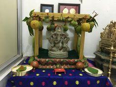 Ganesh Chaturthi Decoration, Ganpati Decoration At Home, Mandir Design, Ganapati Decoration, Pooja Mandir, Indian Interiors, Flower Rangoli, Puja Room, God Pictures