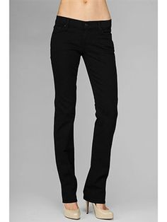 7 For All Mankind Classic Straight Leg Black Jeans - NewChicBoutique.com
