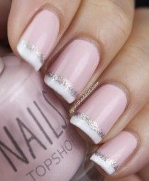 Pinky beige French tips with a twinkle!