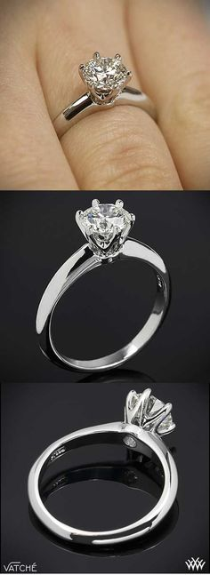 Three views of the classic Six Prong Diamond Solitaire Engagement Ring. | bridesandrings.com