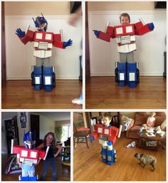DIY Kids Optimus Prime costume... Jacob saw this, and now I am sucker'd into this one instead. UGGG! Better start getting the boxes....