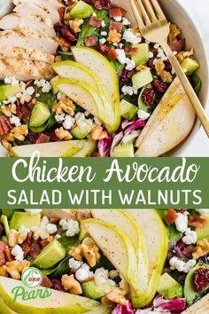 Clean Eating, Healthy Eating, Pear Salad, Avocado Chicken Salad, Avocado Salad, Walnut Salad, Health Dinner, Salad Dressing Recipes, Dinner Salads