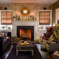 1000 images about christmas living rooms on pinterest - Red gold and brown living room ...