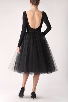 Black tutu tulle skirt petticoat por Fanfaronada