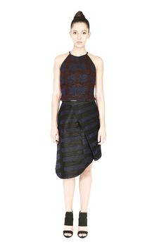 Structural grace comes to mind with the Senna skirt by Morphe. Textural colourblocking and origami-esque folds create a visually-arresting piece that's distinctly one-of-a-kind. Morphe, Draped Skirt, Party Fashion, Looks Great, Peplum Dress, Zip Ups, Personal Style, Two Piece Skirt Set, Style Inspiration