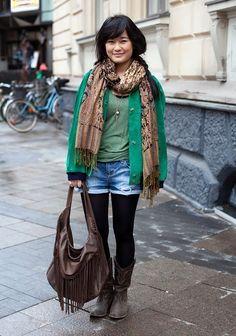 """""""I was looking for a bright green leather jacket for a long time, finally I found this suede jacket at a second hand market. Rest is from Zara, my favourite store.I like relaxed, loose and baggy clothes."""""""