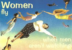 women fly when men aren't watching by chrissie thirlaway. cath tate cards.