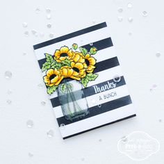Bold striped background card with Peek-a-boo designs stamps