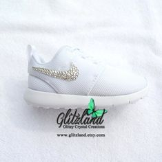SALE Swarovski Nike Size 10C Infant Toddler Nike Roshe Run Shoes Customized  With Swarovski Crystals ebc9b84de16e