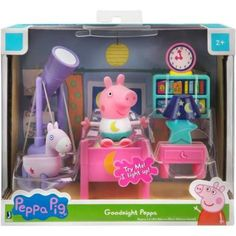 It's bedtime with the Goodnight Peppa Playset. Peppa is ready for bed in her cute pajamas! Turn the lights off for some glow in the dark fun and look at the stars with Peppa's telescope! Make sure to light up her night light before saying goodnight! Peppa Pig House, Peppa Pig Family, Peppa Pig Treehouse, Turquoise Lamp, Pink Desk, Turn The Lights Off, Toy Bins, Realistic Baby Dolls, Toys R Us Canada