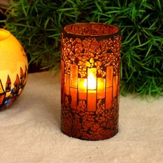 Home Impression Orange Red Crack Retro Style Mosaic Glass Wax Candle Light Decor   eBay