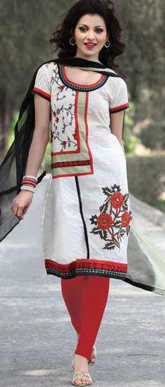 Off White Cotton Churidar Kameez with Dupatta    Itemcode: KMU322    Price: US$ 56.40    Click here to shop: http://www.utsavfashion.com/store/sarees-large.aspx?icode=kmu322