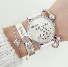 Ladies women trendy newest Leather Fashion Watch Who Cares Im Already Late gifts #Fashion