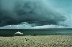 Photo taken on Lion's Park beach in St Joseph, Michigan. This severe thunderstorm was moving across the lake in the early evening.